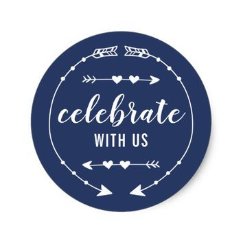 Editable Color Celebrate With Us Classic Round Sticker