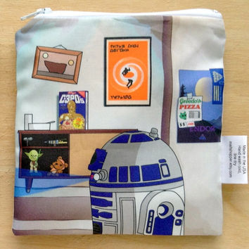 Reusable Snack Bag - Star Wars - Obi Wan Kenobi & R2D2 - Eco-Friendly Bag Geek Gift