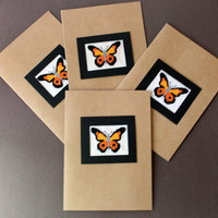Butterfly Note Cards Stationery Set, Cross Stitch Cards, Cross Stitch Orange and Black Butterflys, Set of Four, Completed Cross Stitch