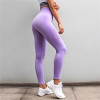 Womens Slim Stretch Gym Tights Energy Seamless Tummy Control Workout Yoga Pants High Waist Sport Leggings Purple Running Pants