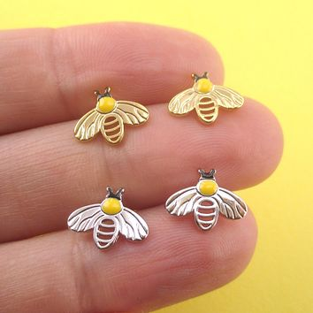 Honey Bumblebee Insect Bug Shaped Stud Earrings in Gold or Silver