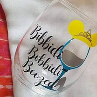 Disney Wine Glass, Cinderella, Bibbidi Bobbidi Boozed, Disney Tumbler, Glitter Wine Glass , Food And Wine Festival Tumbler