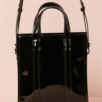 Faux Patent Leather Satchel
