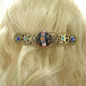 Edwardian Steampunk Barrette Extra Large Long Hair Accessory Lamp work Beaded Barrette Alternative Bride Steampunk Wedding