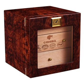 COHIBA Luxury christmas gift Cigar Humidor Cabinet Storage Box wirth High Glossy Wooden with Free Hygrometer&Humidifier ca-0412