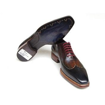 Paul Parkman Men's Wingtip Oxford Goodyear Welted Navy Red Black Shoes (Id#081)