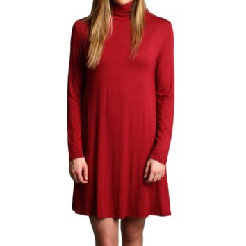 Wine Piko Turtleneck Swing Dress