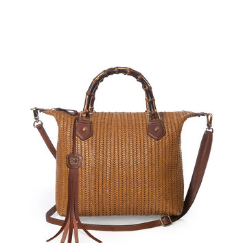 Hilsey Woven Satchel Bag, Honey - Eric Javits