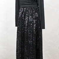 Black Sequin Gown / Vintage 1970s Disco Long Sleeve Maxi Dress / Full Sequined Evening Skirt / Womens Formal Dresses / size S Small
