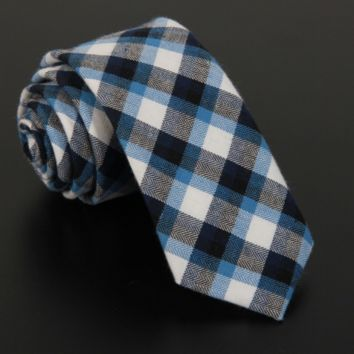 Plaid Blue and White Cotton Tie
