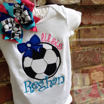 Soccer Bodysuit or Shirt and matching bow for Babies to Big Kids -- Little Sister soccer shirt -- Choose Your TEAM COLORS
