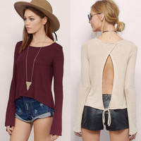 2017 Trending Fashion Summer Women Hollow Bandage Sexy Backless Long Sleeve Round Necked Strappy Erotic T-Shirt _ 11687