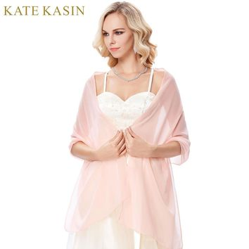 Kate Kasin Long Chiffon Bridal Wraps for Evening Party Dress Light Pink Blue Green Purple White Scarf Woman Wedding Shawl Wrap