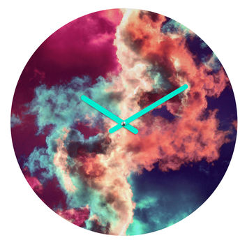 Caleb Troy Yin Yang Painted Clouds Round Clock
