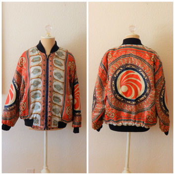 Womens Vintage 90s Scarf Puffer Hip Hop Oversized Bomber Jacket