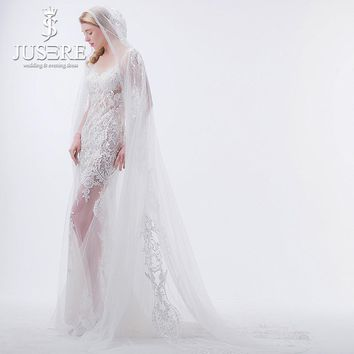JUSERE Illusion Sexy V Neckline Open Back Long Sleeves with Cape Appliques Lace Transparent Lace Long Mermaid Wedding Dress 2018