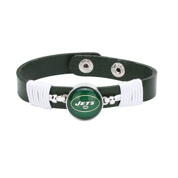 10pcs/lot! Adjustable Premium Leather Ginger Snaps Bracelet with a New York Jets 18mm Snap  for Men,Women and Teens