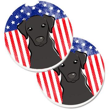 American Flag and Black Labrador Set of 2 Cup Holder Car Coasters BB2165CARC