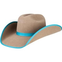 Rodeo King 5X Pecan with Turquoise Bound Edge Cowboy Hat