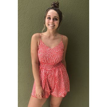 In The Park Romper- Coral