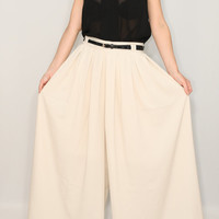 Chiffon pant skirt Beige palazzo pants Ivory skirt pants for women