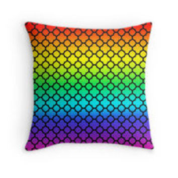 Black Rainbow Quatrefoil Pattern by TigerLynx