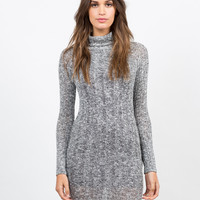 Marled Knit Turtleneck Dress - Small