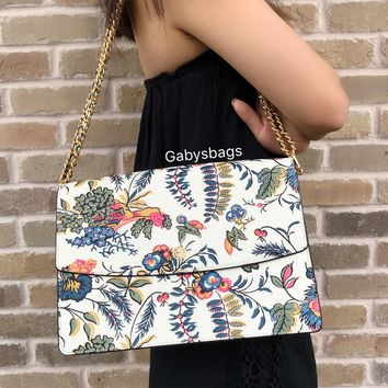 Tory Burch Parker Gabriella Floral Large Shoulder Bag Chain Tote