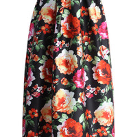 Exotic Amorous Floral Maxi Skirt Multi
