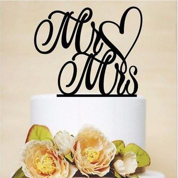 Cake Decorating Acrylic Personalized Mr & Mrs Wedding Cake Toppers Silhouette Party Favors Decorations Wedding Supplies(should remove the paper on the cake topper,any question welcome to contact us) [7983492423]