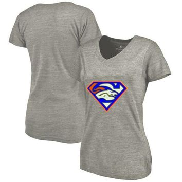 High Quality Summer Fashion Women's Broncos Fans T-Shirt, Denver Tees Superman S Logo Picture Printing Classical V-neck T Shirts