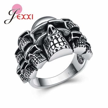 JEXXI Punk Style Skull 925 Sterling Silver Rings For Women And Men Size 6-10 Unisex Hip-Hop Party Finger Ring Girls Birthday