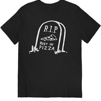 Rest In Pizza Tee White on Black