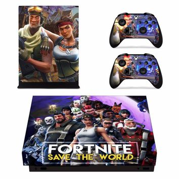 Game Fortnite Skin Sticker Decal For Microsoft Xbox One X Console and 2 Controllers For Xbox One X Skins Sticker Vinyl