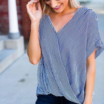 Navy Striped Draped Blouse