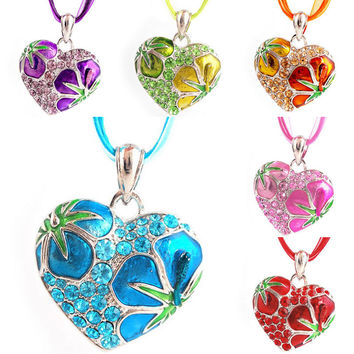 Crazy for Color?...Love Crystal Flower Silver Heart Chain Pendant Necklace