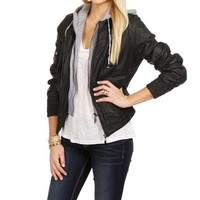 Black Faux Leather Jacket w/Knit Hood