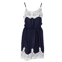 WensLTD White Lace Patchwork Dress Cute Suspenders Women Dress (M)