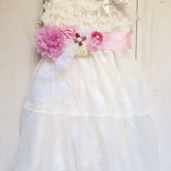 Rustic girl dress and pink flower sash, belt, country Ivory lace chiffon, flower girl, bridal wedding, pink, blue, shabby chic, vintage