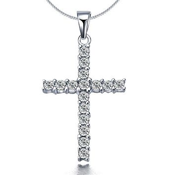 Druzy Shiny Silver Cross Rhinestone Pendant Necklace For Woman Sweet Simple Collar Girls Choker