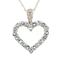 Aquamarine and Diamond Accent Heart Pendant in 10K White Gold