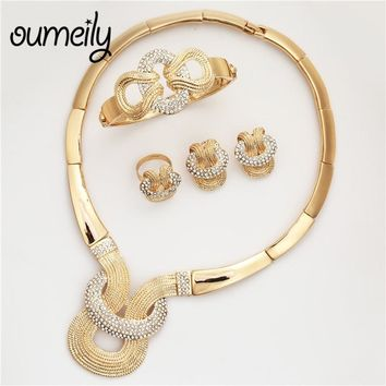 OUMEILY African Beads Jewelry Set in Gold Color Indian Bridal Jewelry Sets For Women Round Ethiopian Wedding Jewelry Sets