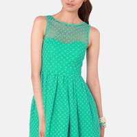 Climbing Rose Lace Sea Green Dress