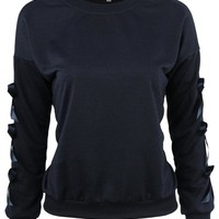 Elegant Women Bow Long Sleeve Pure Color O-neck Sweatshirts