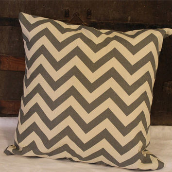 Gray Chevron Pillow Cover- Case- Home Decor- Decorative- Throw Pillow- Accent Pillow- 18x18- Gray/White- Zig Zag- Print Pillow