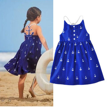 Summer Girls Dress New  Brand Fashion Sleeveless Vest Dress Casual Cotton Bohemian Beach Vestido Infantil Kids Clothes Hot