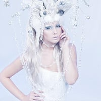 MADE TO ORDER Ice Queen Whimsical Antler Headdress red queen white queen headpiece wig ice frozen winter snow