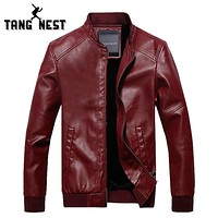New Arrival Autumn Winter Fashion Men's PU Leather Jacket With Fur Inside Solid Warm Windbreaker Jacket