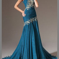 2014 round neck chiffon formal evening dresses A-line floor length embroidered party dress Pageant gown