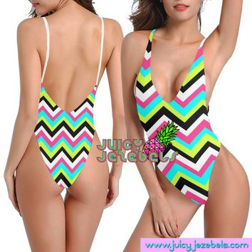 ZIG ZAG Sexy Rave Outfit Rave Bodysuit Women Colorful Psychedelic Festival Clothing Rave Clothing Festival Bodysuit Edc Outfits EDM